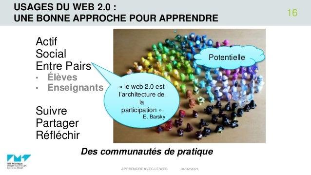 USAGES DU WEB 2.0 : UNE BONNE APPROCHE POUR APPRENDRE Actif Social Entre Pairs • Élèves • Enseignants Suivre Partager Réfl...