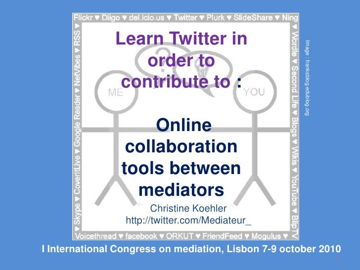 Learn Twitter in order to contribute to :Online collaboration tools between mediators<br />1<br />Image : franksblog.edubl...