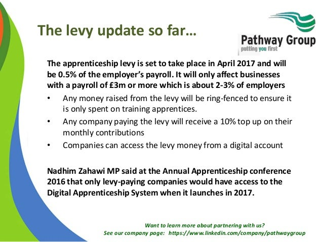 Want to learn more about partnering with us? See our company page: https://www.linkedin.com/company/pathwaygroup The levy ...