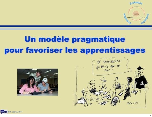 OBJECTIFS  Compétences et activités de l'apprenant  METHODES  OUTILS  Un modèle pragmatique pour favoriser les apprentissa...