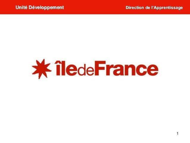1 Unité Développement Direction de l'Apprentissage