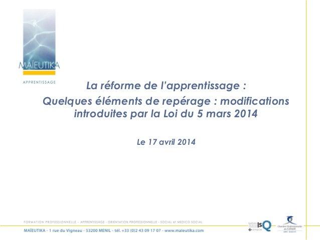 1 La réforme de l'apprentissage : Quelques éléments de repérage : modifications introduites par la Loi du 5 mars 2014 Le 1...