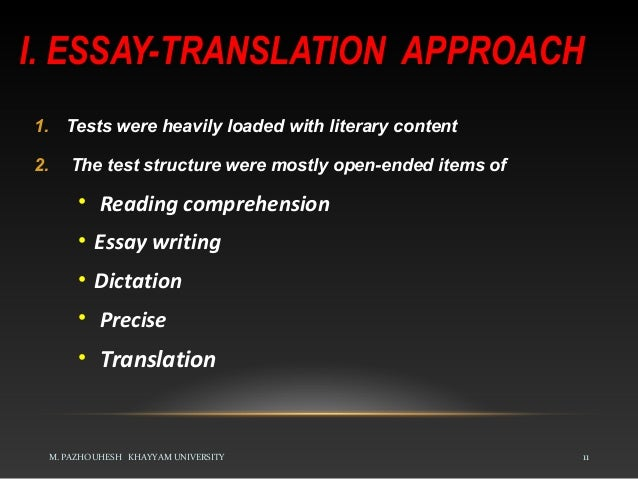 approaches to language testing tests relied on knowledge of grammar and analysis 11 i essay translation