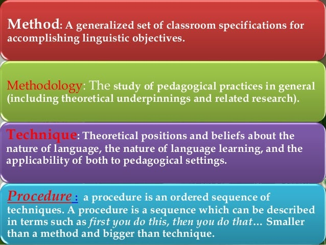 Method: A generalized set of classroom specifications for accomplishing linguistic objectives.  Methodology: The study of ...