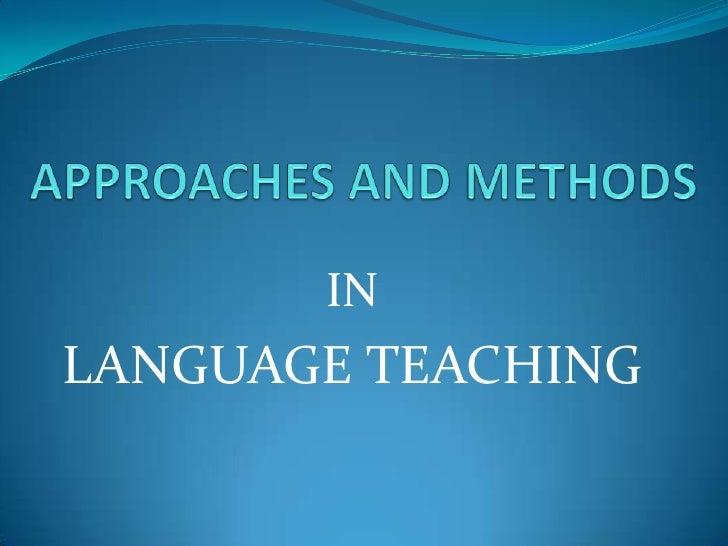 INLANGUAGE TEACHING