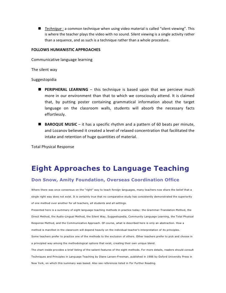 "behaviourist method of teaching english language essay Teaching approaches and methodology  a very simple yet effective method of teaching is  ""the psychologist and foreign language teaching."