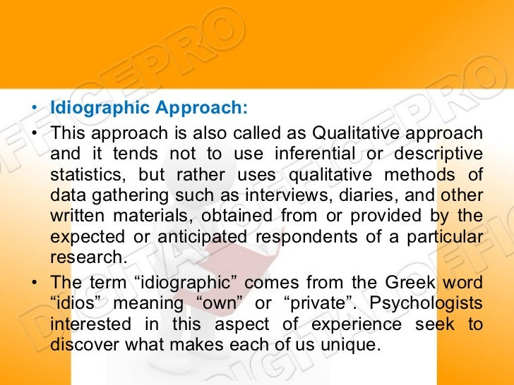 what is idiographic research