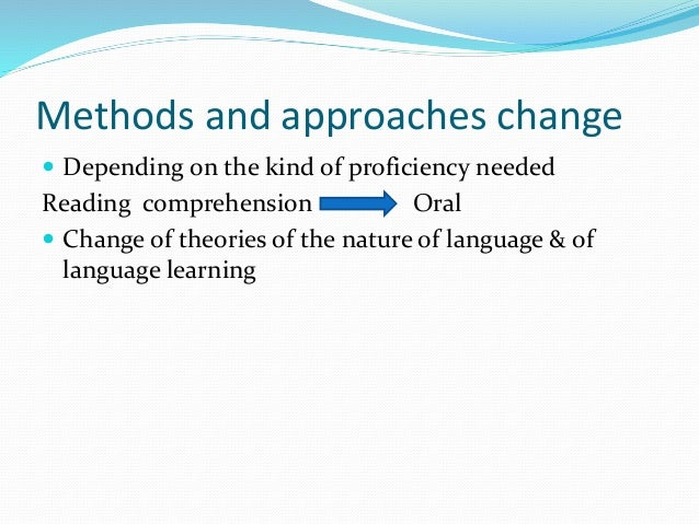 methods techniques and approaches of language Methods of teaching english have changed and developed over the thousands of years that people have been learning languages more recently, there have been four main approaches to teaching english as a second language, some very popular and effective, while others are no longer widely used.