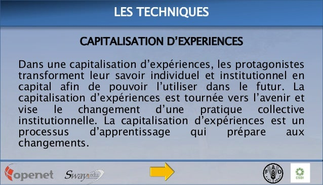LES TECHNIQUES CAPITALISATION D'EXPERIENCES  Dans une capitalisation d'expériences, les protagonistes transforment leur sa...