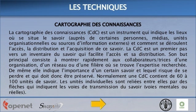 LES TECHNIQUES CARTOGRAPHIE DES CONNAISSANCES La cartographie des connaissances (CdC) est un instrument qui indique les li...