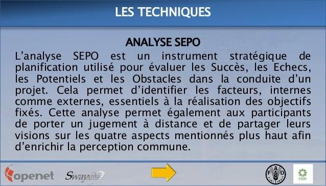 LES TECHNIQUES ANALYSE SEPO L'analyse SEPO est un instrument stratégique de planification utilisé pour évaluer les Succès,...