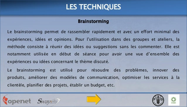 LES TECHNIQUES Brainstorming Le brainstorming permet de rassembler rapidement et avec un effort minimal des expériences, i...