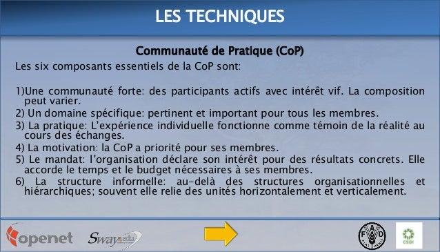 LES TECHNIQUES Communauté de Pratique (CoP) Les six composants essentiels de la CoP sont: 1)Une communauté forte: des part...