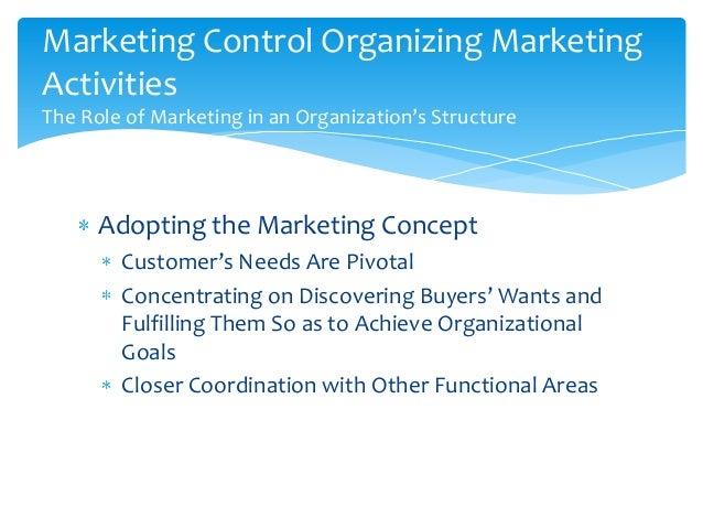 Marketing Control Organizing MarketingActivitiesThe Role of Marketing in an Organization's Structure      Adopting the Mar...