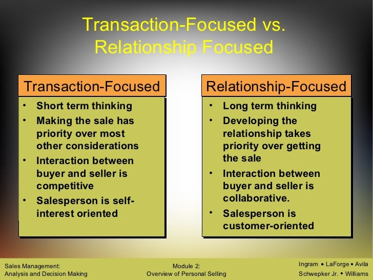 transactional selling vs relationship and sales