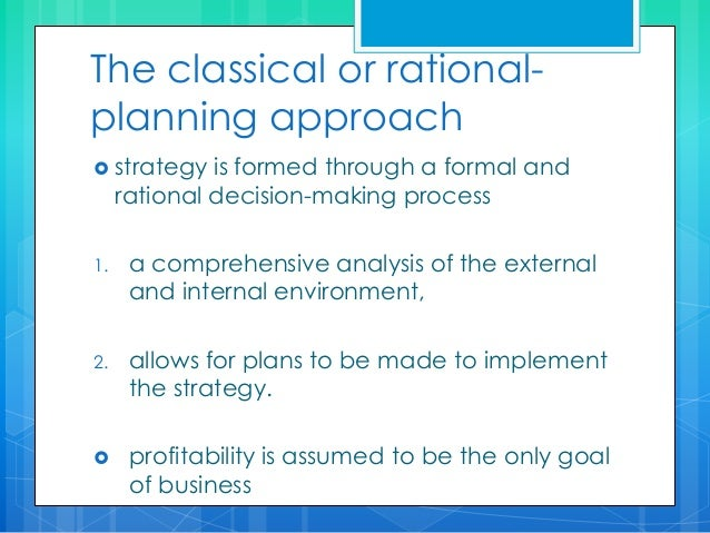 rational planning approach to strategy