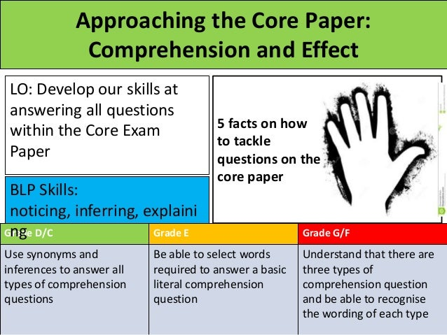 Approaching the Core Paper: Comprehension and Effect LO: Develop our skills at answering all questions within the Core Exa...
