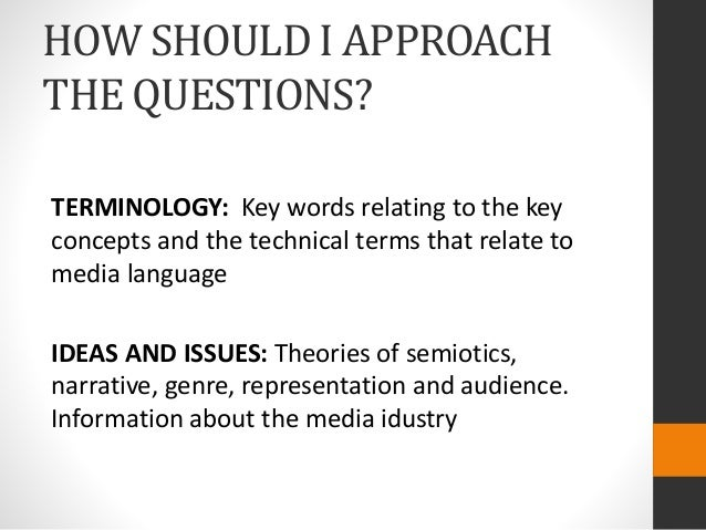 HOW SHOULD I APPROACH THE QUESTIONS? TERMINOLOGY: Key words relating to the key concepts and the technical terms that rela...
