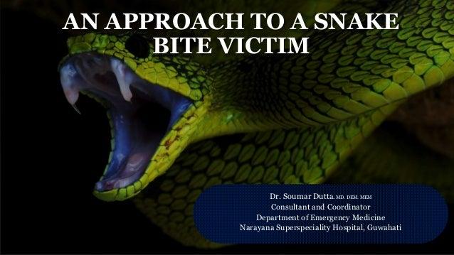 AN APPROACH TO A SNAKE BITE VICTIM Dr. Soumar Dutta. MD. DEM. MEM Consultant and Coordinator Department of Emergency Medic...