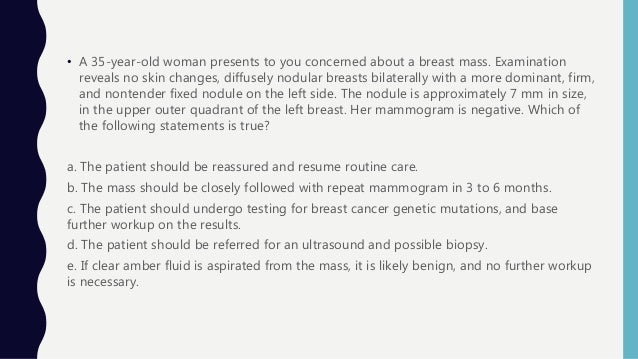 Approach to breast lump pain, nipple discharge