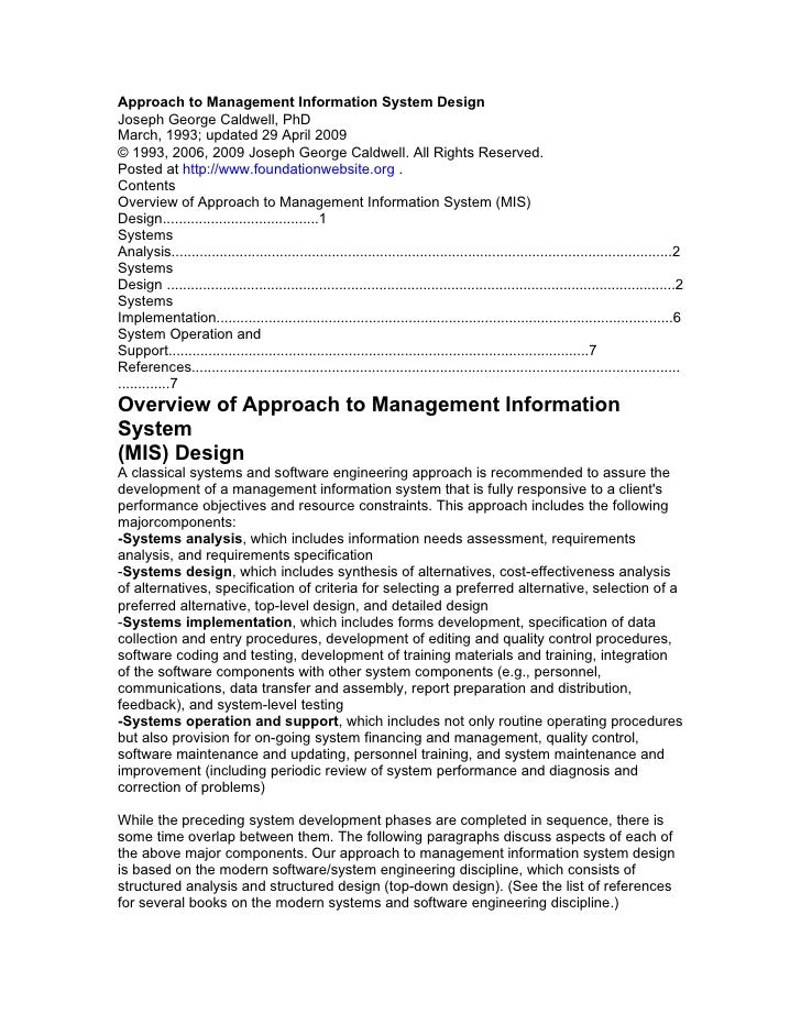 Approach to Management Information System DesignJoseph George Caldwell, PhDMarch, 1993; updated 29 April 2009© 1993, 2006,...