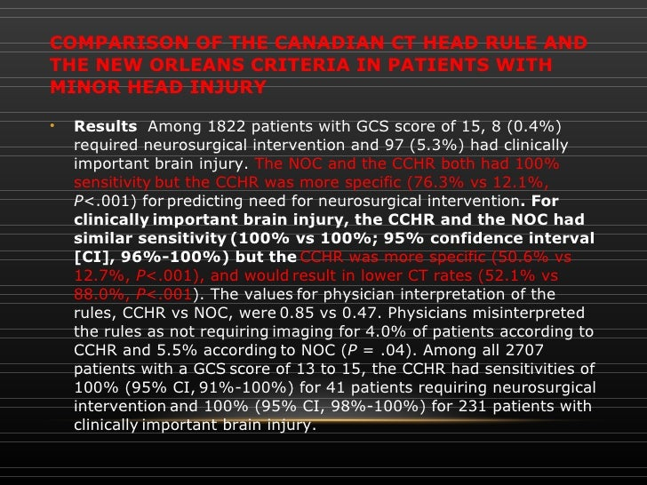 minor head injury in adults