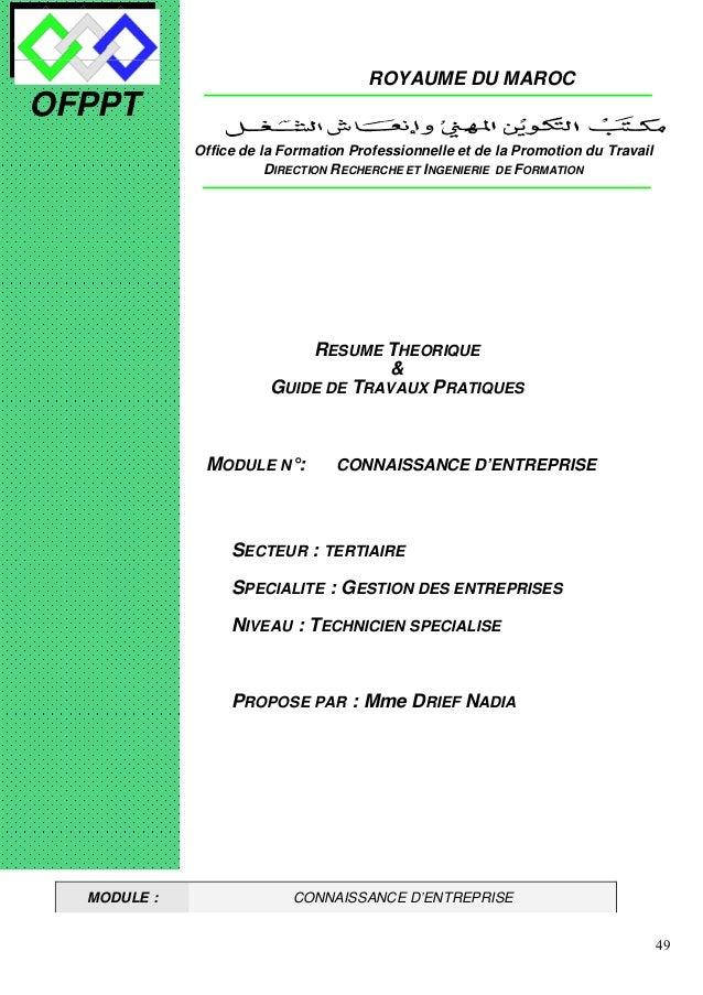 49 OFPPT ROYAUME DU MAROC MODULE N°: CONNAISSANCE D'ENTREPRISE SECTEUR : TERTIAIRE SPECIALITE : GESTION DES ENTREPRISES NI...