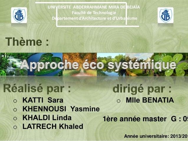 UNIVERSITE ABDERRAHMANE MIRA DE BEJAÏA Faculté de Technologie Département d'Architecture et d'Urbanisme 1ère année master ...