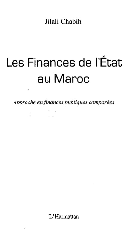 Jilali Chabih  Les Finances de l'État  au Maroc  Approche en finances publiques comparées  L'Harmattan