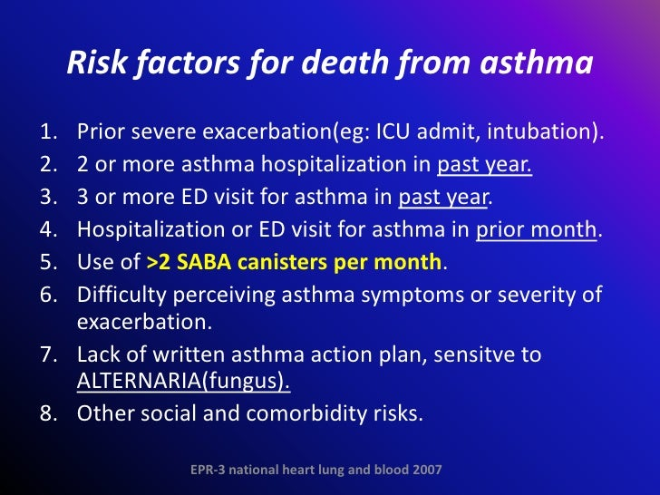 risk factors of asthma Childhood asthma (pediatric asthma) is the most common serious chronic disease in infants and children yet is often difficult to diagnose  risk factors for.