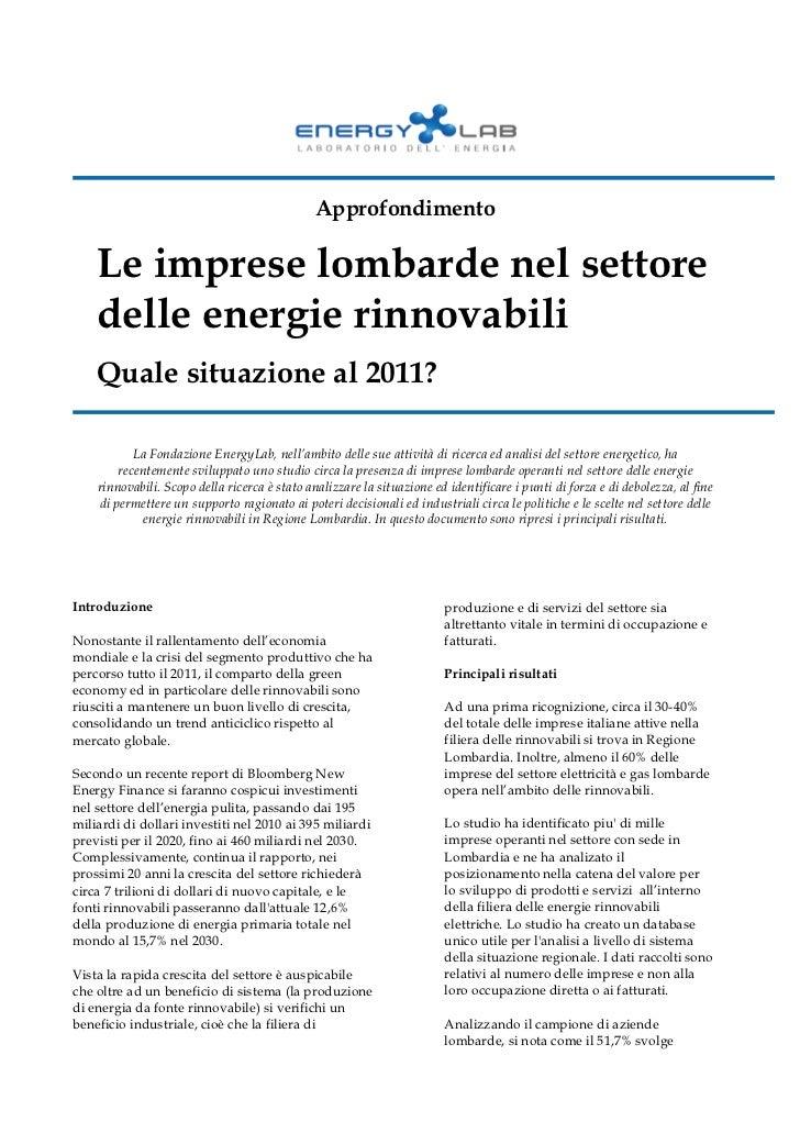 Approfondimento    Le imprese lombarde nel settore    delle energie rinnovabili    Quale situazione al 2011?           La ...