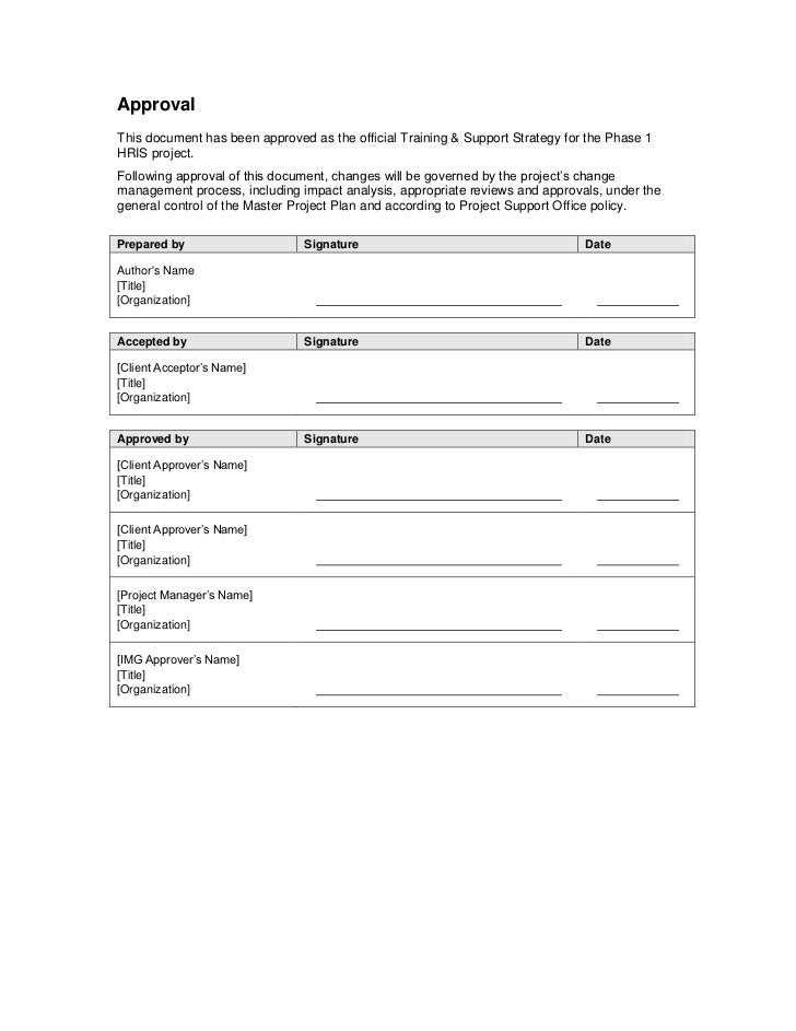 Project Sign Off Document Template