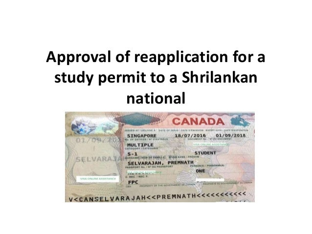 Approval of reapplication for a study permit to a Shrilankan national