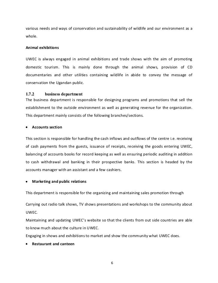 internship report on restaurant