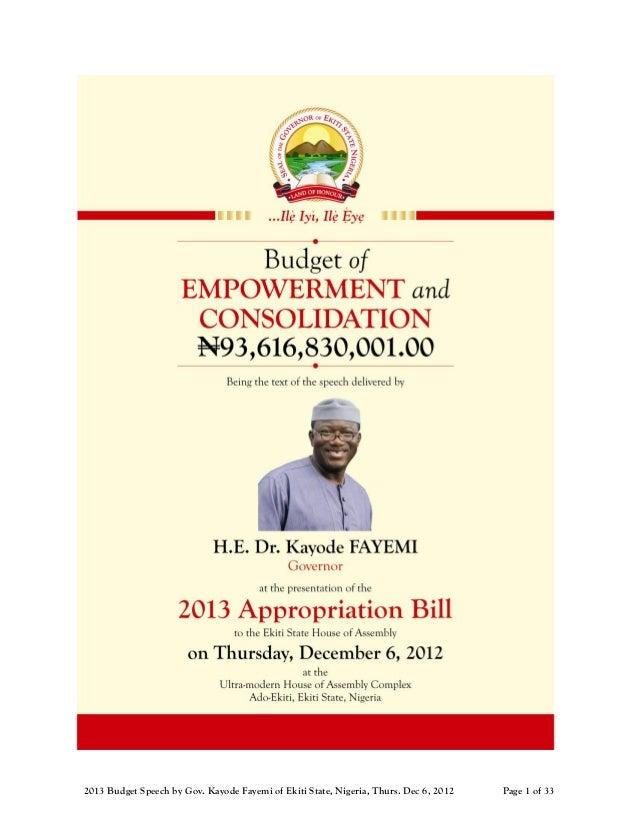 2013 Budget Speech by Gov. Kayode Fayemi of Ekiti State, Nigeria, Thurs. Dec 6, 2012   Page 1 of 33
