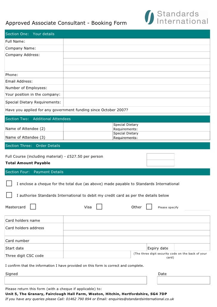 Approved Associate Consultant - Booking Form  Section One:     Your details  Full Name: Company Name: Company Address:    ...