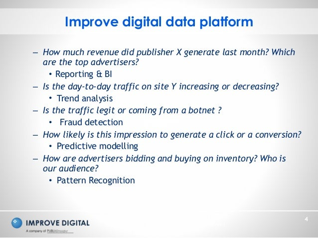 Copyright © 2014 Improve Digital - All Rights Reserved 4 – How much revenue did publisher X generate last month? Which are...
