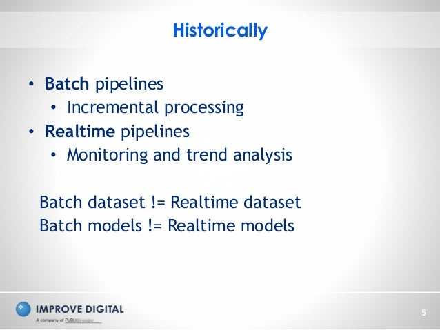 Copyright © 2014 Improve Digital - All Rights Reserved 5 Historically • Batch pipelines • Incremental processing • Realtim...