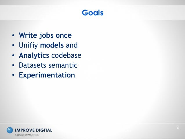 Copyright © 2014 Improve Digital - All Rights Reserved 6 • Write jobs once • Unifiy models and • Analytics codebase • Data...