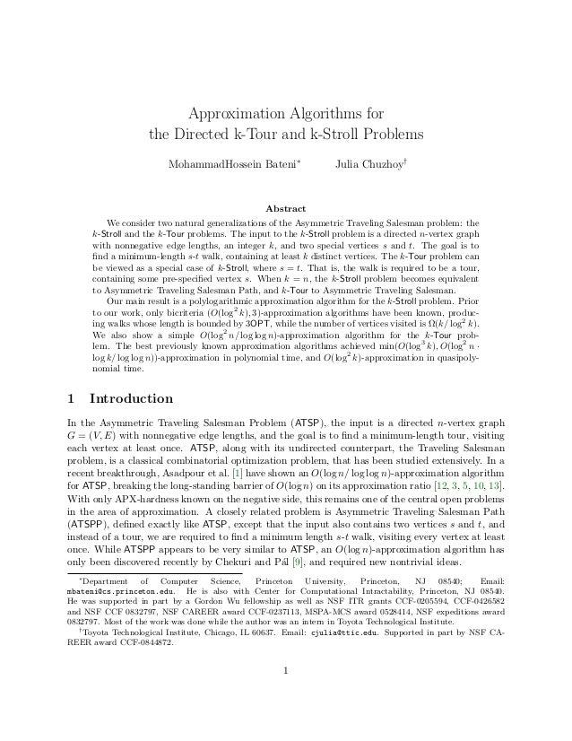 Approximation Algorithms for                    the Directed k-Tour and k-Stroll Problems                         Mohammad...