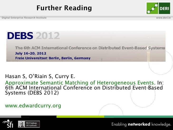 Further ReadingDigital Enterprise Research Institute                     www.deri.ie  Hasan S, O'Riain S, Curry E.  Approx...