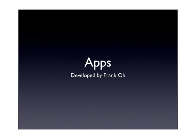 Apps Developed by Frank Oh