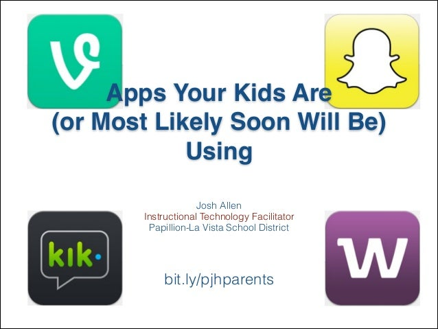Apps Your Kids Are ! (or Most Likely Soon Will Be)! Using Josh Allen Instructional Technology Facilitator Papillion-La Vis...
