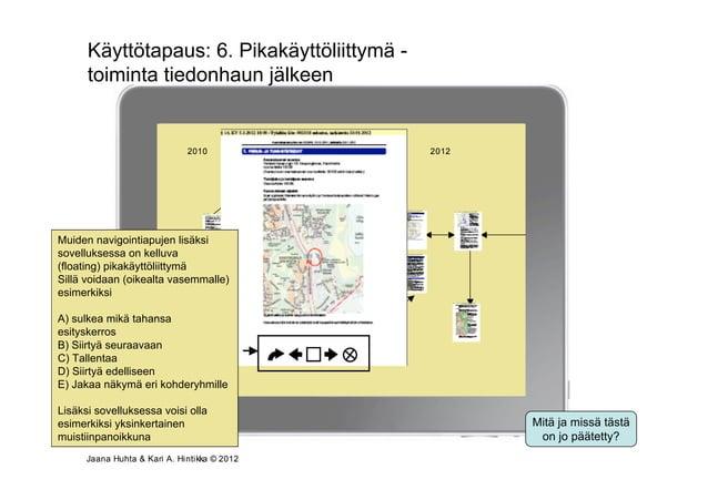 Käyttötapaus: 6. Pikakäyttöliittymä -      toiminta tiedonhaun jälkeen                            Osallistumis- ja arvioin...