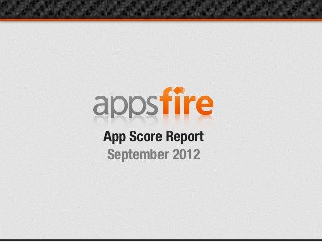 App Score ReportSeptember 2012