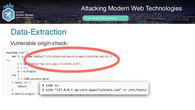 Author name her Data-Extraction Attacking Modern Web Technologies Frans Rosén @fransrosen Looks harmless?