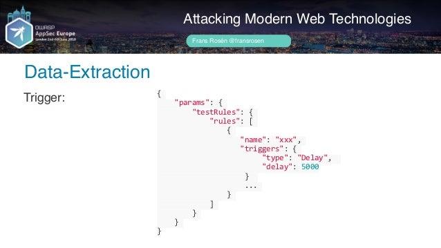 Author name her Attacking Modern Web Technologies Frans Rosén @fransrosen State: ... ...
