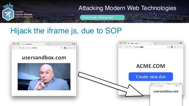 Author name her User uploads file, postMessage data to converter Attacking Modern Web Technologies Frans Rosén @fransrosen...