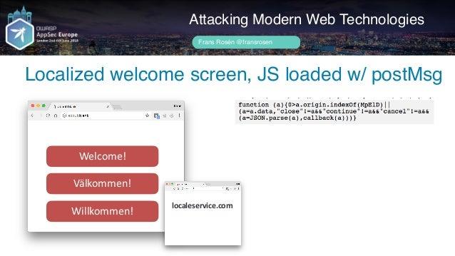 Author name her Attacking Modern Web Technologies Frans Rosén @fransrosen Welcome! Välkommen! Willkommen! link.com.example...