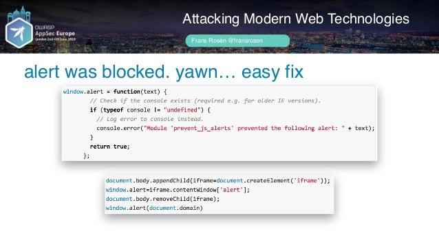 Author name her Attacker-site Attacking Modern Web Technologies Frans Rosén @fransrosen link.com.example.com